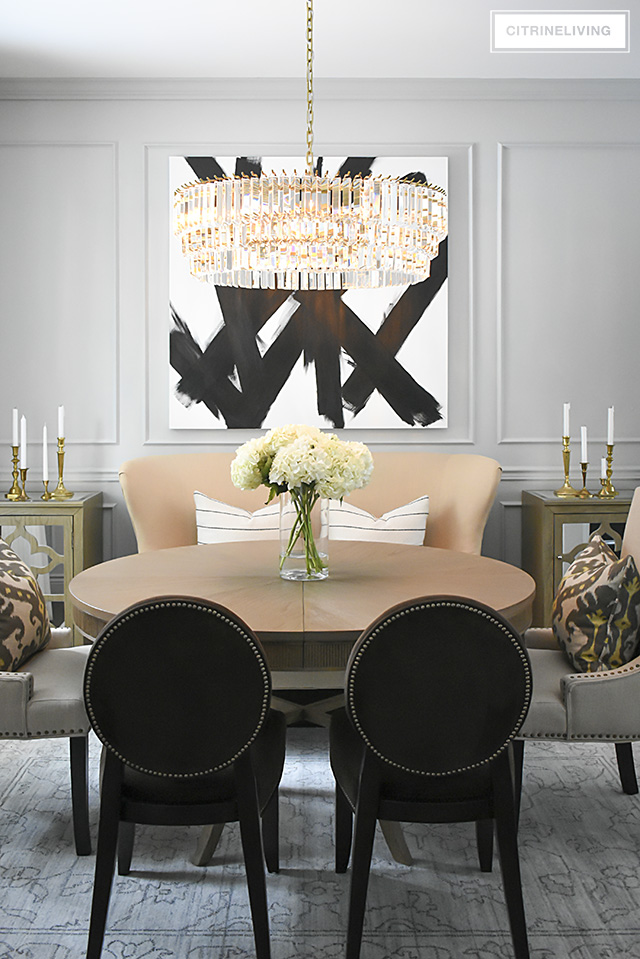 A Gorgeous Dining Room Makeover Reveal With New Gray Walls And Moldings Painted From The