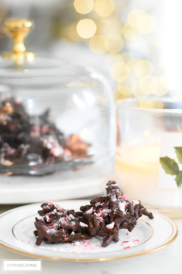 Delicious dark chocolate peppermint chow mein clusters!