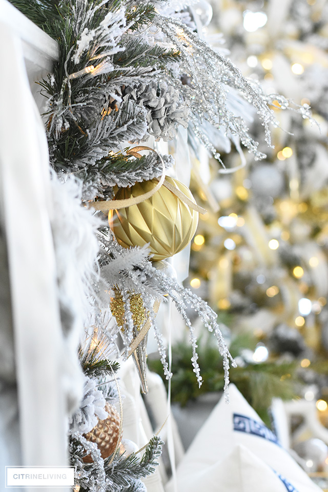 Gorgeous flocked garland, dressed in magical silver and gold for Christmas is elegant, sophisticated and chic!