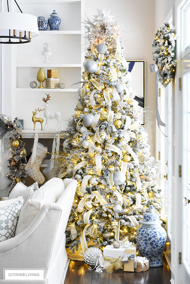 Flocked Christmas Tree Garland With Silver Gold