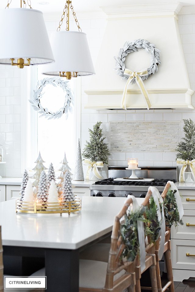 CHRISTMAS KITCHEN DECORATING: SILVER, GOLD + GREENERY on remodeling ideas for kitchen, christmas decorations above kitchen cabinets, christmas decor for kitchen, design ideas for kitchen, organizing ideas for kitchen, christmas centerpieces for kitchen, christmas kitchen decor idea, color ideas for kitchen, home ideas for kitchen, christmas crafts for kitchen, christmas lights for kitchen, diy for kitchen, storage ideas for kitchen, paint ideas for kitchen, italy ideas for kitchen, lighting ideas for kitchen, sewing ideas for kitchen, painting ideas for kitchen, vintage ideas for kitchen, christmas rugs for kitchen,
