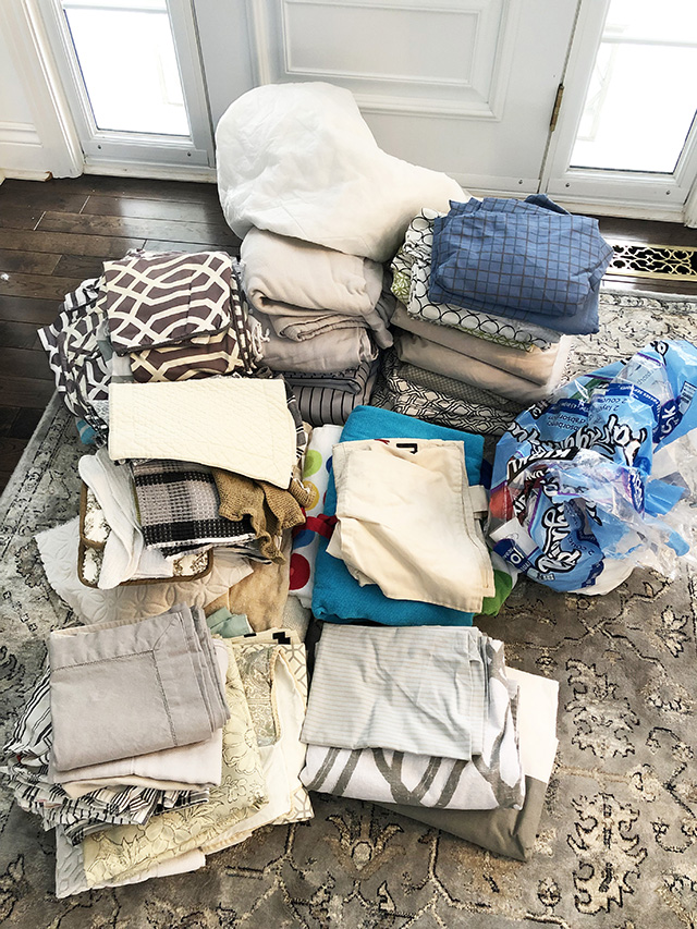 bunch of linens and towels