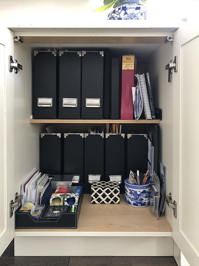 Current organizing projects - my small bill and important paper cupboard is somewhat organized but needs a little TLC!