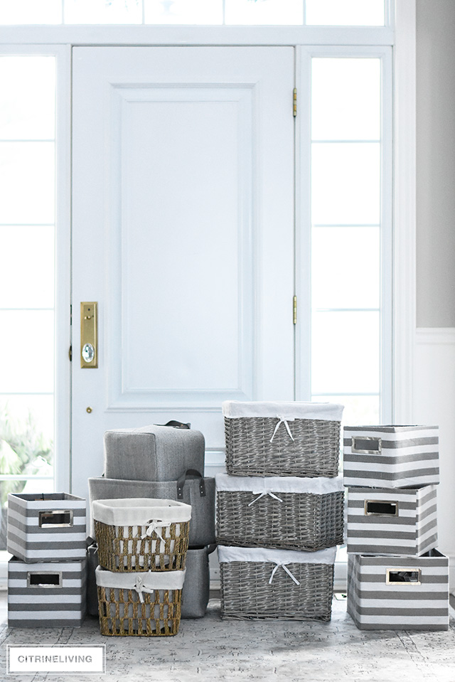Beautiful storage baskets and bins to get your home organized and whipped into shape! See makeover plan for our linen closet!