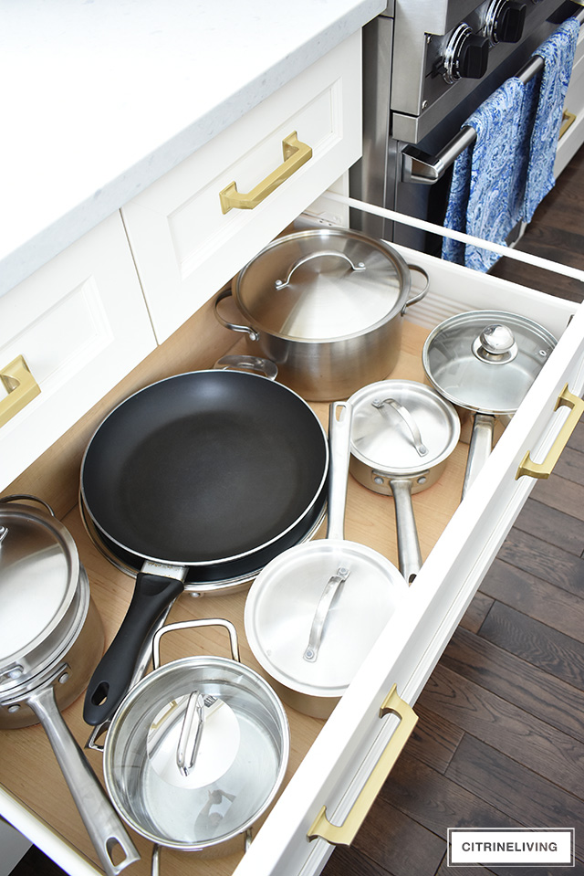 organized kitchen pans