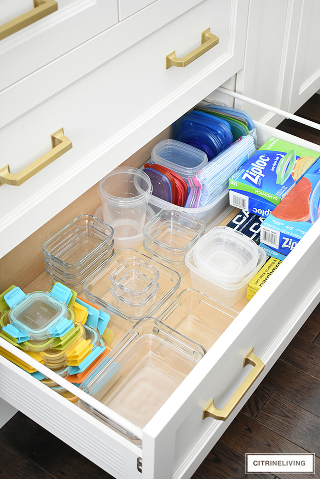 plastic container kitchen drawer