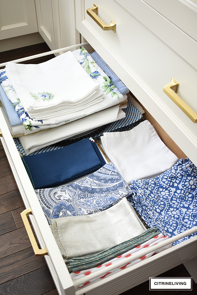 organized kitchen drawer, kitchen towels and aprons
