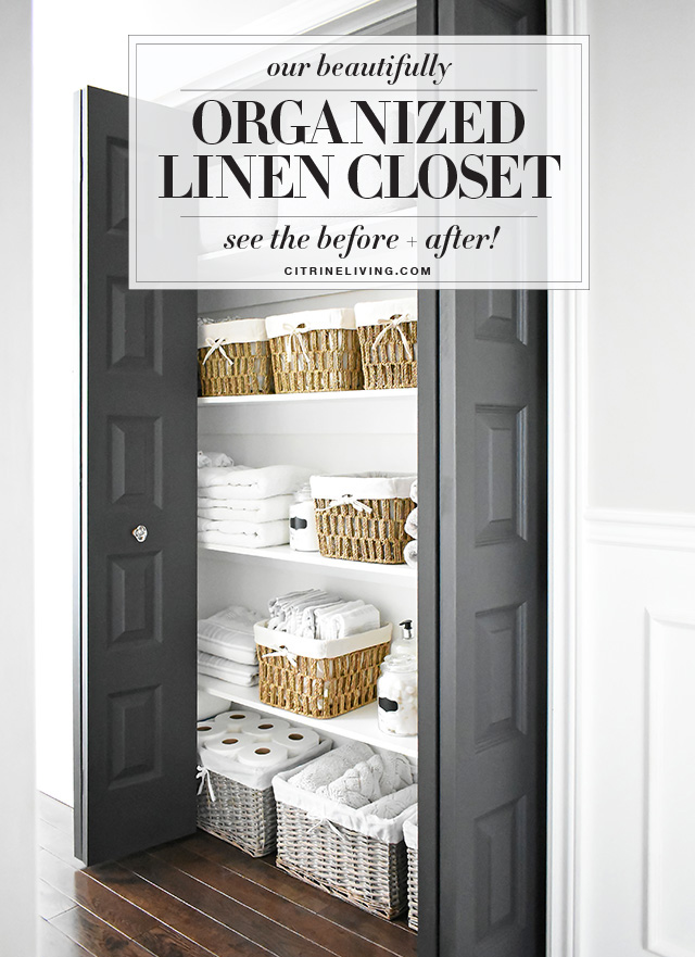 Functional and beautiful organized linen closet with baskets to keep everything neat and tidy.