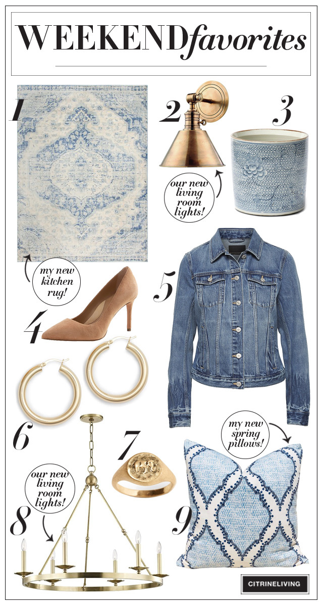 Sharing the details on my newest home decor pieces and some fashion classics I have my eye on - all in blue, white and brass, always classic + chic!