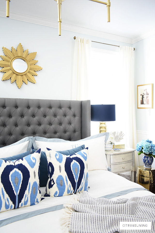 Simple and affordable master bedroom decorating tips for spring - see how easy it is to refresh your bedroom for a new season!