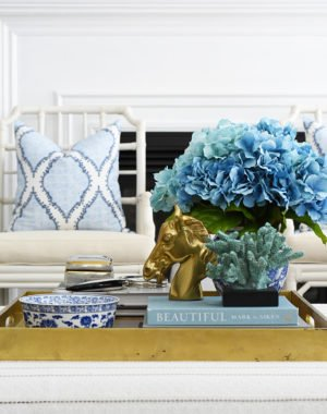 Coffee table decorating ideas, gold tray, faux floral arrangement, design books and beautiful objects.