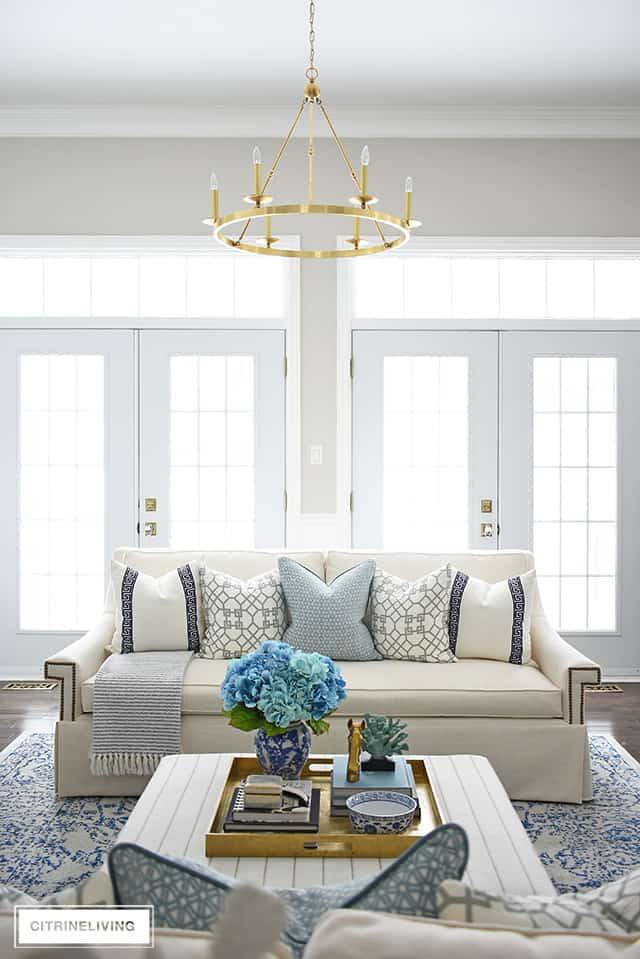 Beautiful And Bright Spring Living Room Decorating In Blue, White And Brass  Plus Our New