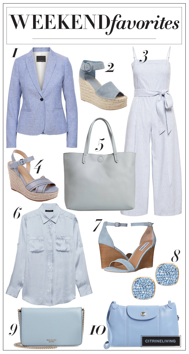 A gorgeous selection of light blue beauties - shoes, handbags, and fashion staples for your spring wardrobe!