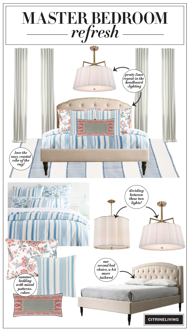 Master bedroom refresh design board featuring uphstered beds, lighting, blue and white bedding and rug.