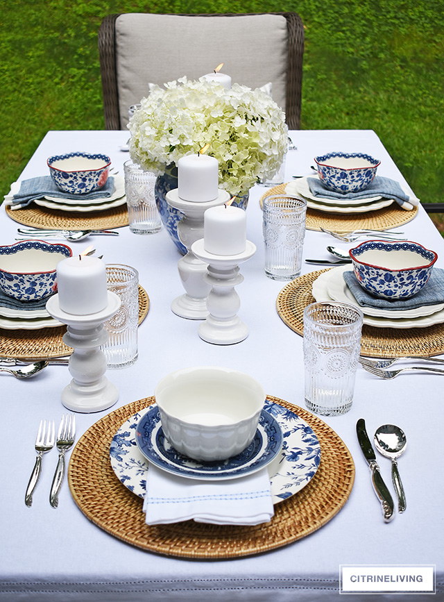Beautiful blue and white late summer tablescape with vintage-inspired dishes.