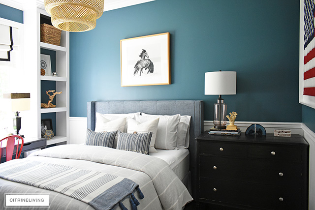 Modern coastal teen bedroom with a nod to nostalgia, woven natural elements keep the look current.