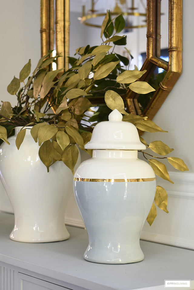 Gorgeous grey, gold and white color block ginger jar.