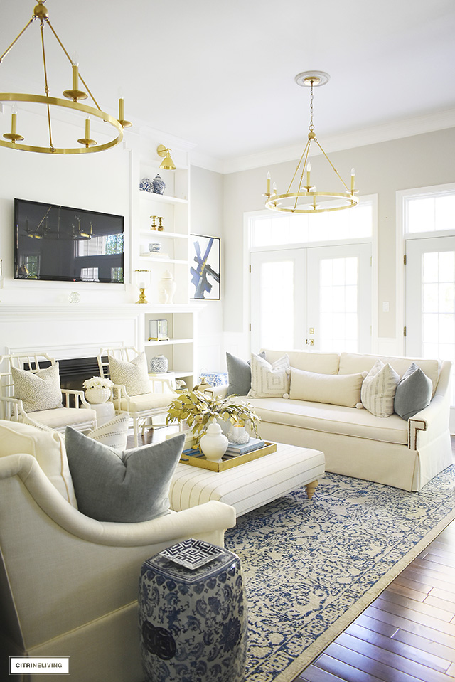 Gorgeous and elegant fall living room with muted colors and soft textures are welcoming and inviting!