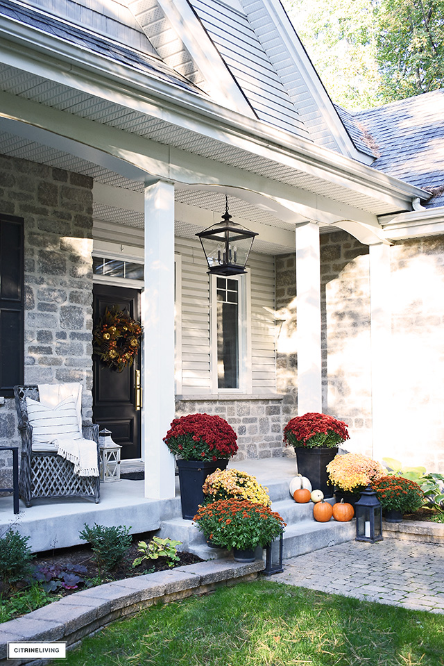 Beautiful fall front porch close up