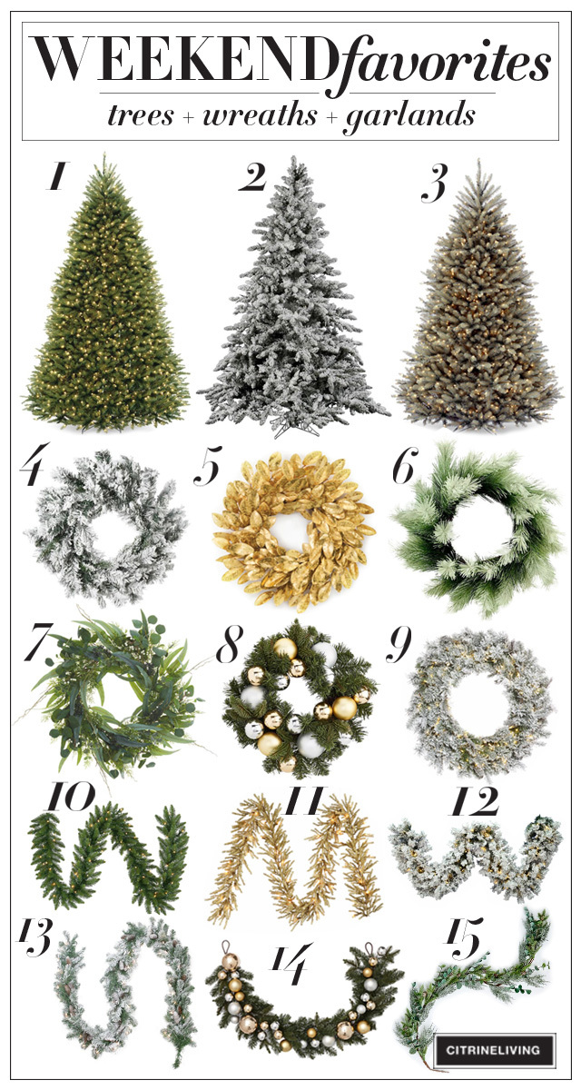 A gorgeous roundup of christmas trees, wreaths + garlands!