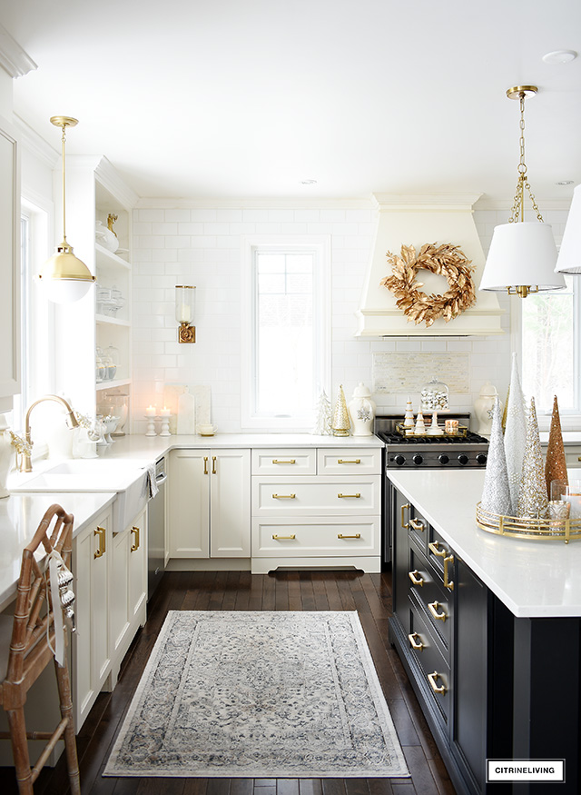 Elegant Christmas kitchen decorating with gold, silver and white.