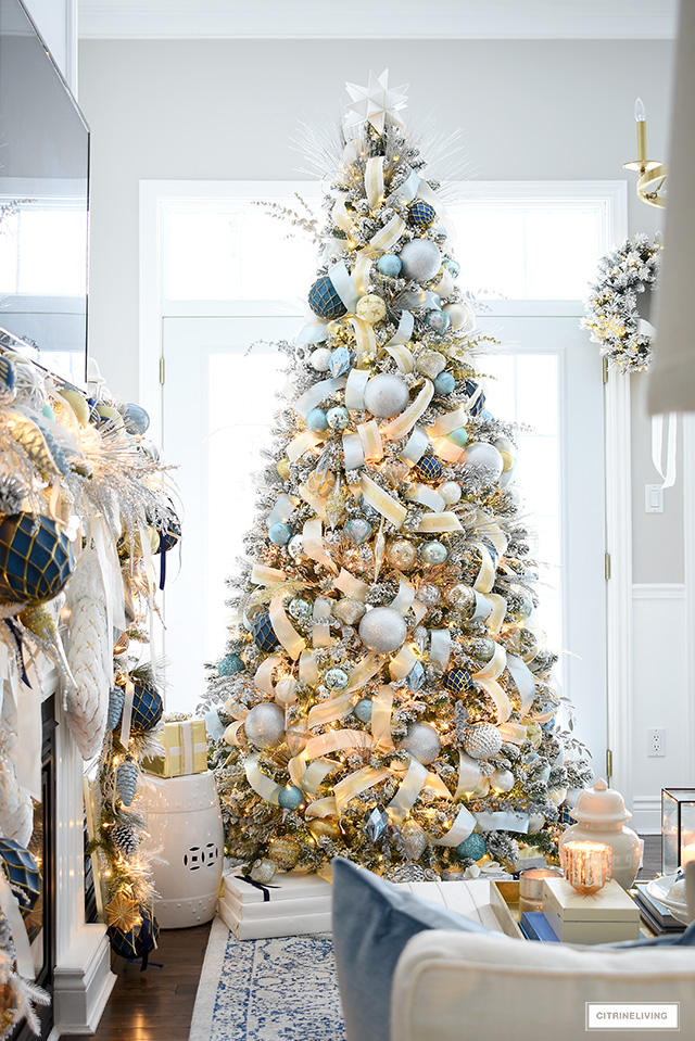 Light blue, gold, silver and white Christmas decorating
