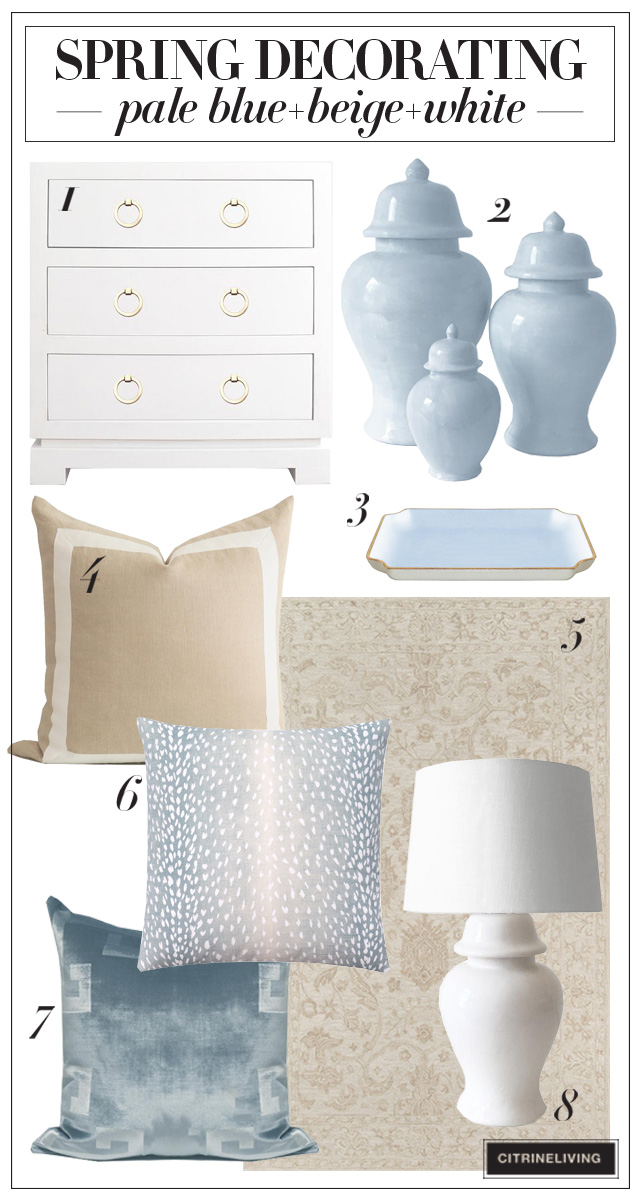 Pale blue, beige and white home decor accessories for spring
