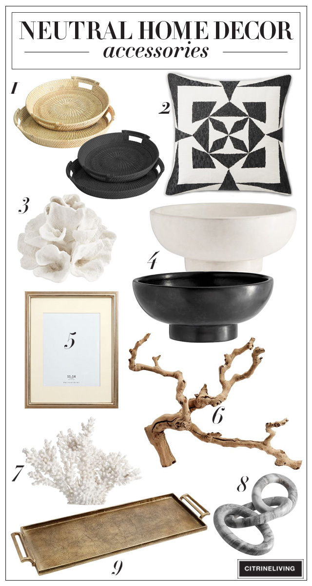 Neutral home decor accessories