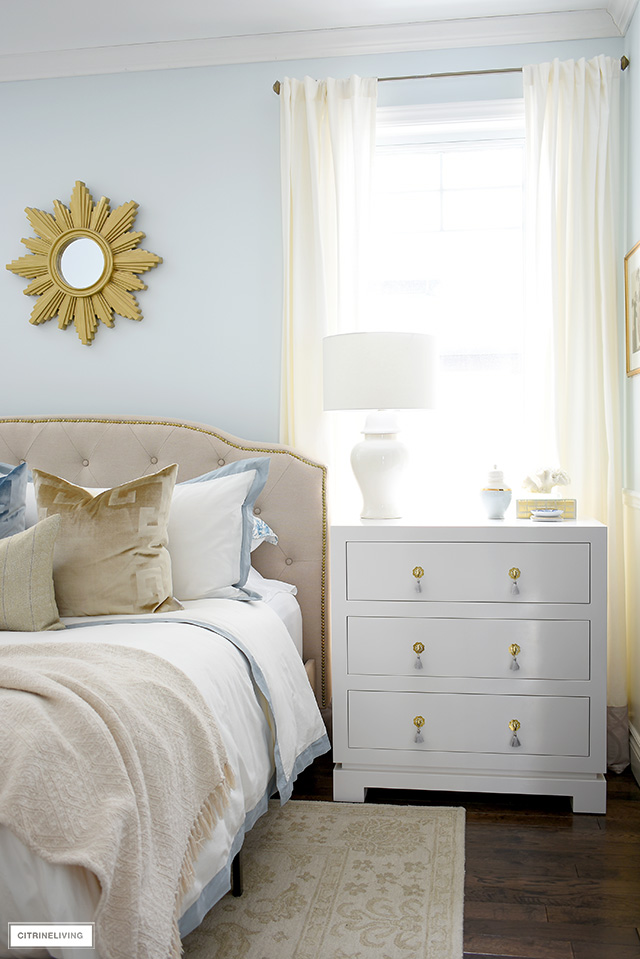 A sophisticated and chic three drawer nightstand is the perfect solution for a small bedroom.