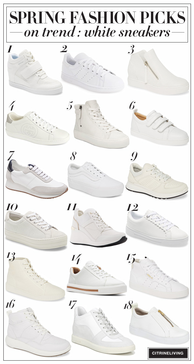 Spring Fashion - on-trend white sneakers