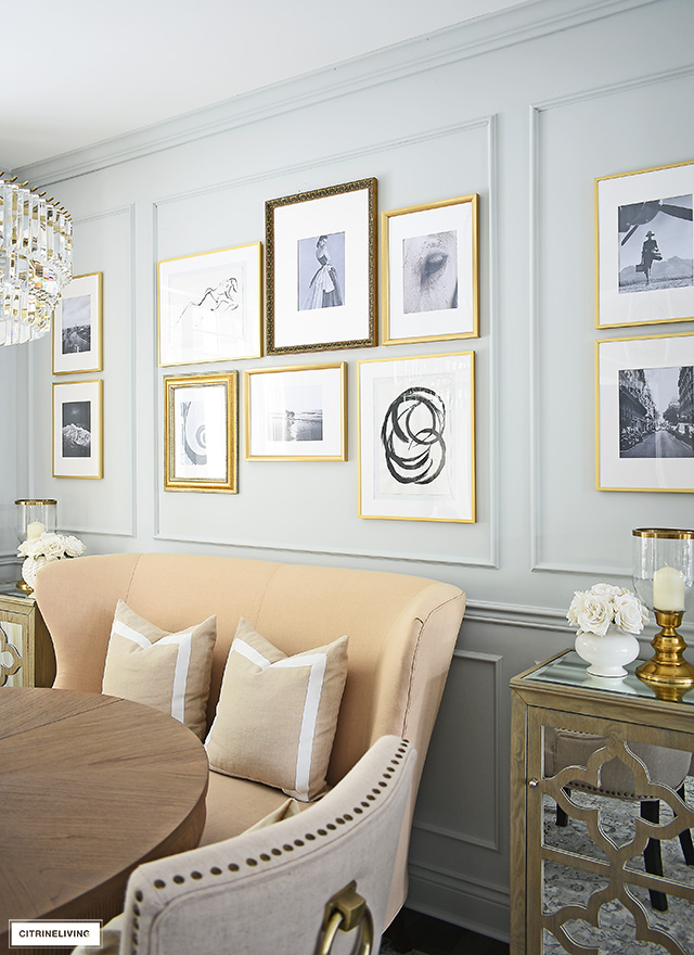 Install an inexpensive DIY gallery wall in your home for a sophisticated old-world feel.