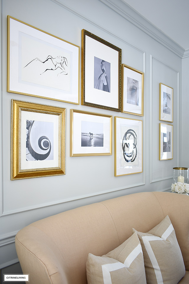 DIY gallery wall ideas using a mix of free printable art and photography and inexpensive frames. So easy to do!