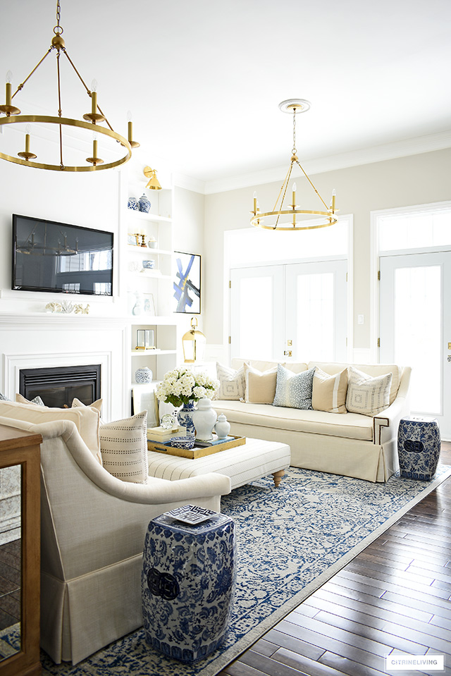 Spring living room decorating with soft blues and creamy whites.