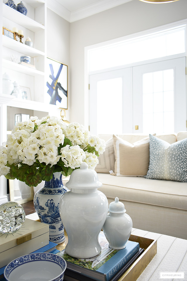 Coffee table styling ideas for spring decorating.