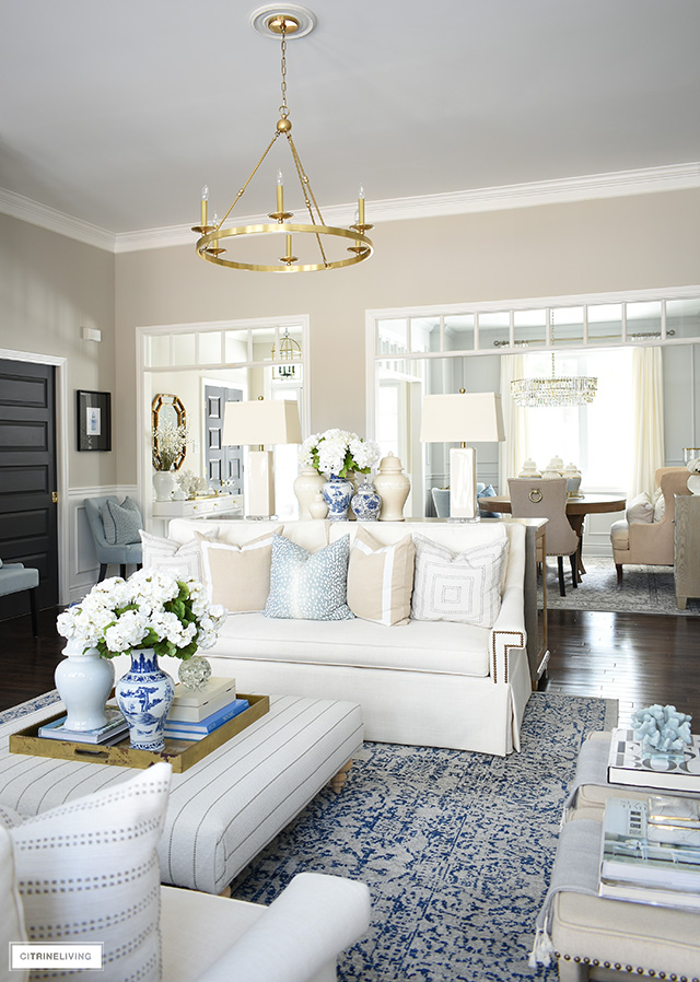 Spring decorating ideas with soft blue tones and light beige and warm whites.