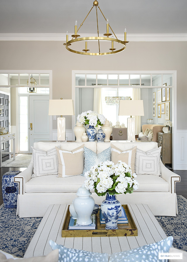 Spring decorating with elegant neutral tones and blue accents.