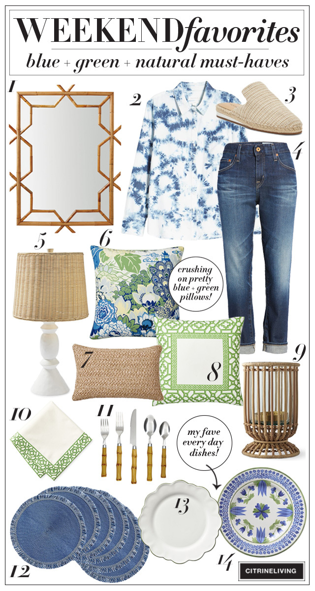 Blue, green and natural home decor and fashion favorites