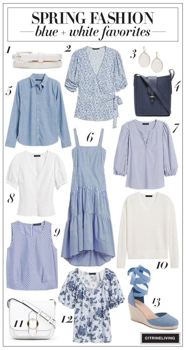 Blue and white spring fashion favorites!