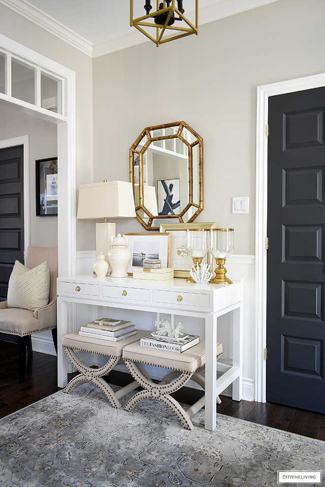 Syle a console table with coastal-chic elements for a timeless and classic look!