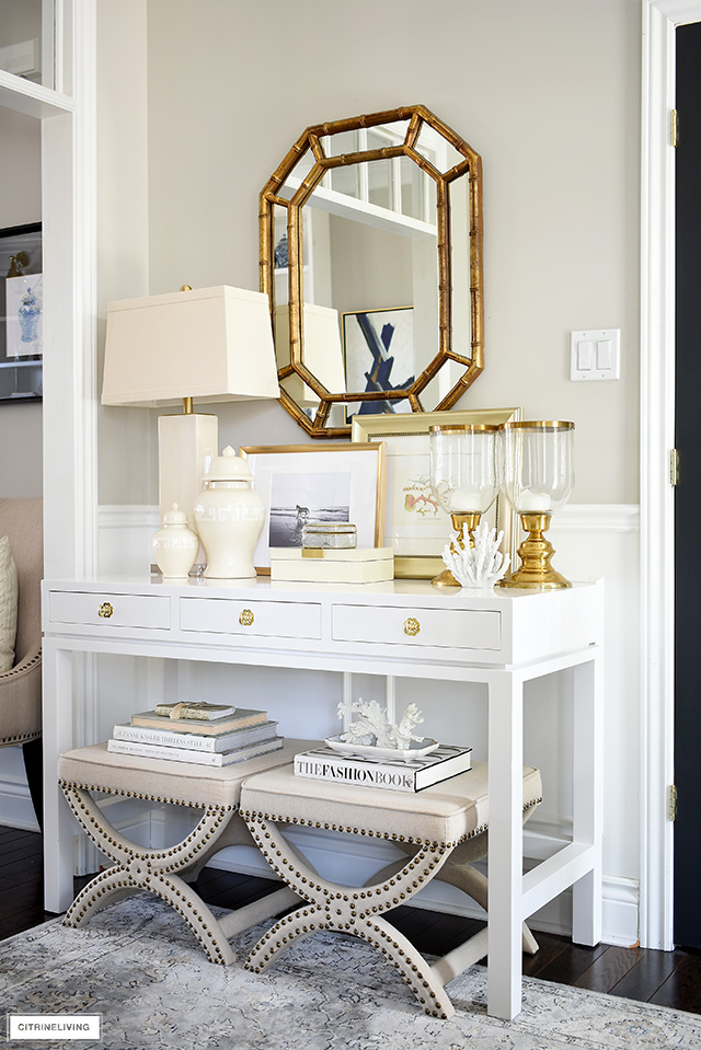 A neutral coastal-chic look styled on a console table is always timeless!