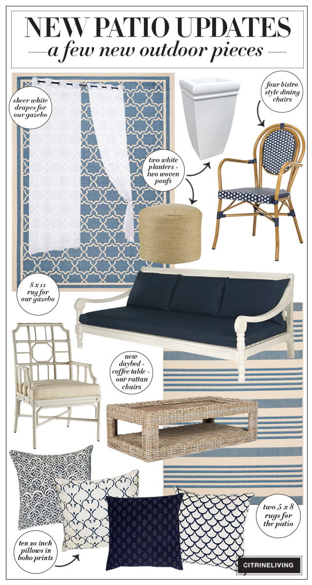 Blue, white and natural patio updates - furniture and accessories to lighten your outdoor space!