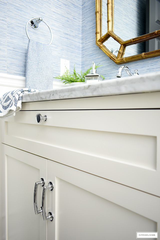 Pretty polished silver bathroom hardware with curved details.
