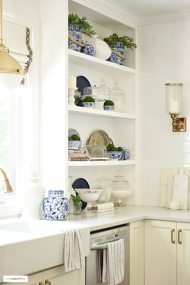 Blue and white chinoiserie decorated shelves for summer.