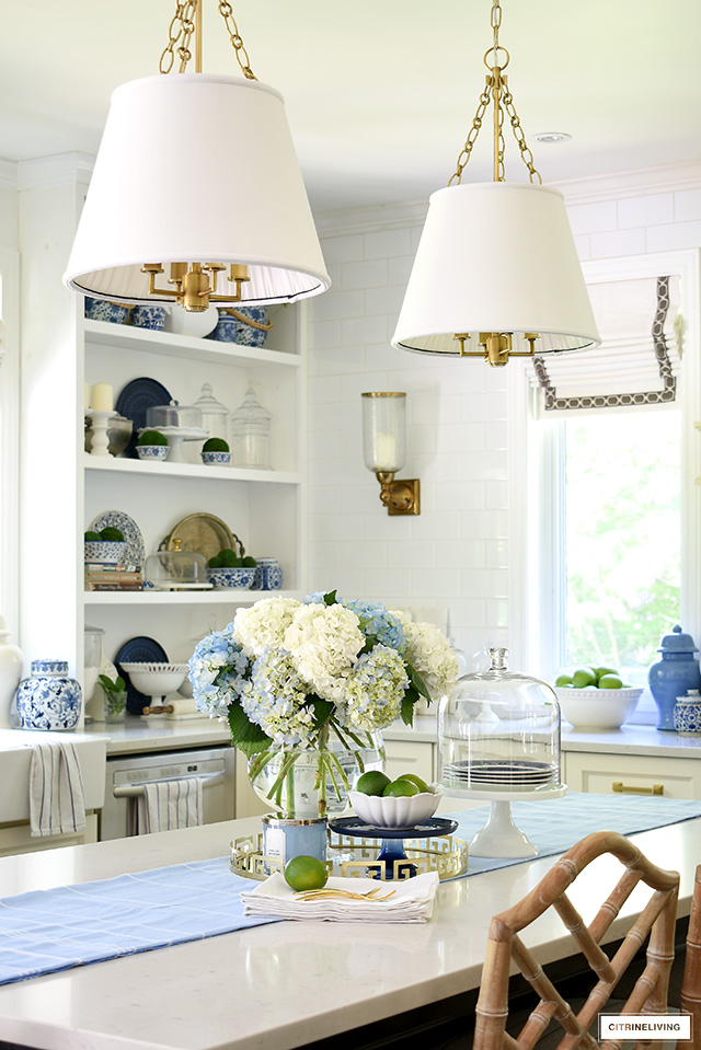 Kitchen island with hydrangeas and limes.