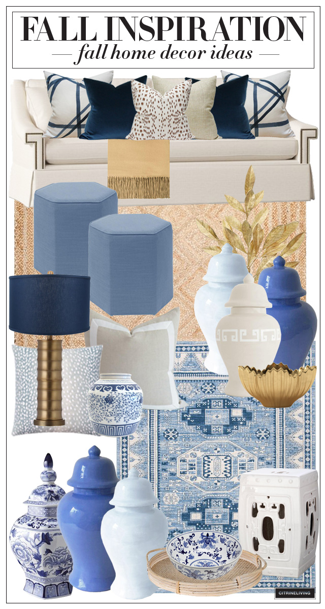Fall home decorating inspiration with blue and gold.