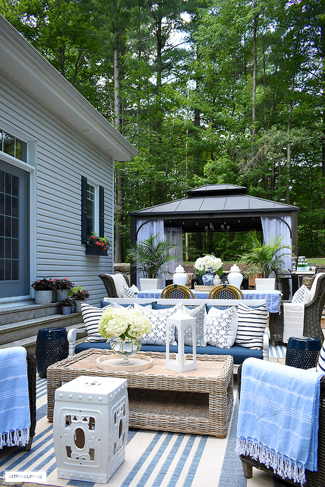 Gorgeous outdoor patio featuring outdoor living spaces for lounging, dining and relaxing!