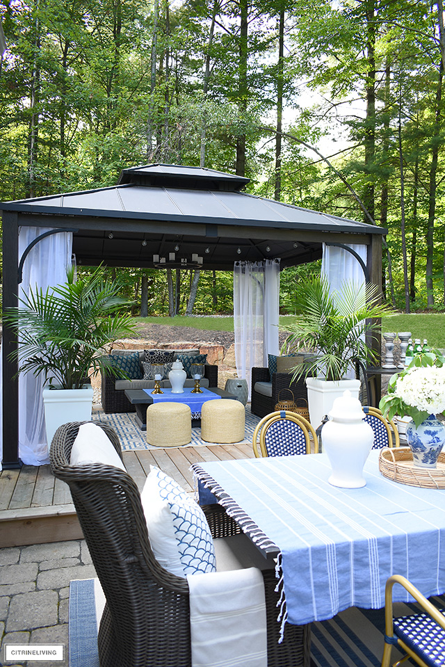 Gorgeous outdoor patio with gazebo for lounging.