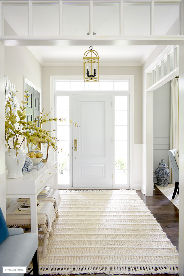 Fall entryway decorating, soft colors, textures and layers create an elegant space!