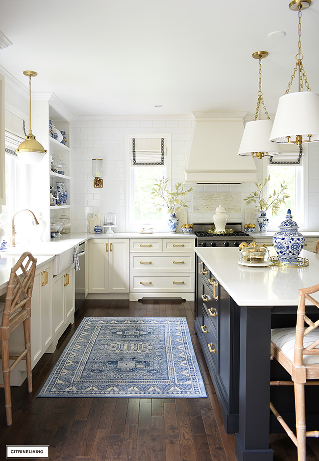 Fall Kitchen Decor In Blue White Gold Citrineliving