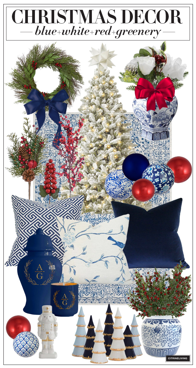 Christmas Decor in blue, white and red with greenery and chinoiserie accents is stunning!